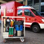 Beladung: Nasssauger, Tauchpumpe, Schläuche,  Bedarfsbeladung im Feuerwehrhaus